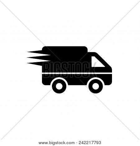 Logistics Delivery Truck Vector Icon Flat Style Illustration For Web, Mobile, Logo, Application And