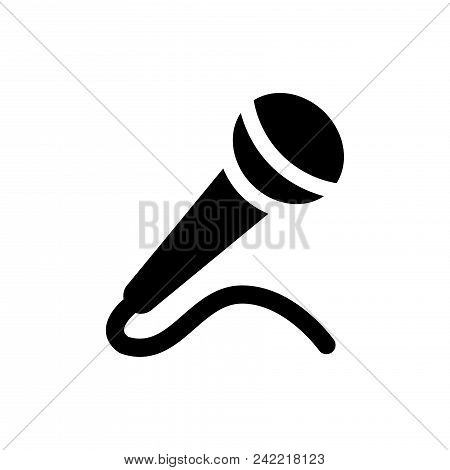 Microphone Vector Icon Flat Style Illustration For Web, Mobile, Logo, Application And Graphic Design