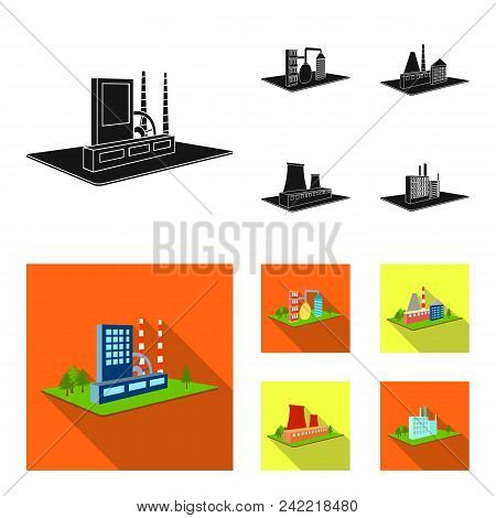 Processing Factory, Metallurgical Plant. Factory And Industry Set Collection Icons In Black, Flat St