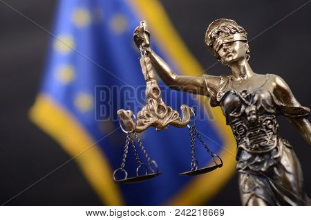 Law And Justice, Legality Concept, Scales Of Justice, Justitia, Lady Justice In Front Of The Europea