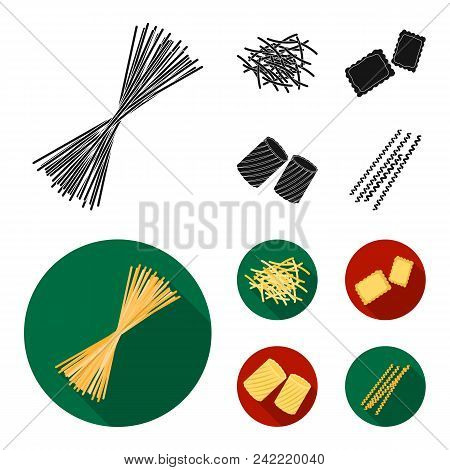 Different Types Of Pasta. Types Of Pasta Set Collection Icons In Black, Flat Style Vector Symbol Sto