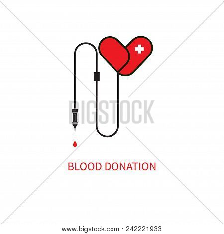 Blood Transfusion Icon, Red Heart Dropper,  Donation Of Blood. Vector Illustration