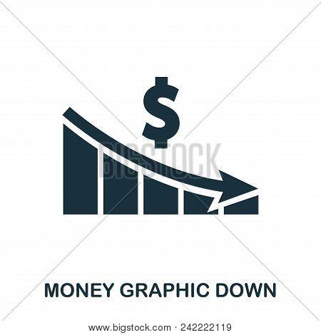 Money Graphic Down Icon. Flat Style Icon Design. Ui. Illustration Of Money Graphic Down Icon. Pictog