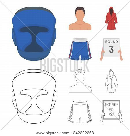 Boxing, Sport, Mask, Helmet .boxing Set Collection Icons In Cartoon, Outline Style Vector Symbol Sto