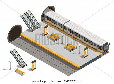 Public City Transport Isometric Composition With Underground Metro Station Escalators And Benches Wi