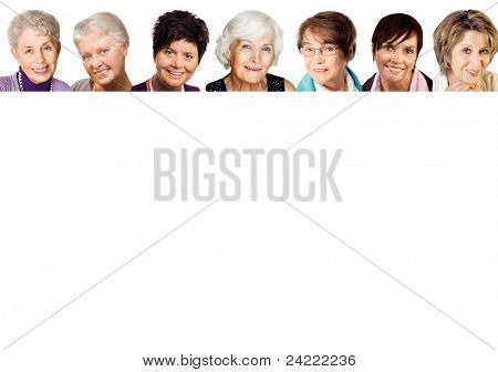 7 senior woman portraits  in the age 51-77 years, cheerful smiling,in a row on white background
