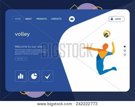 Quality One Page Volley Website Template Vector Eps, Modern Web Design With Flat Ui Elements And Lan
