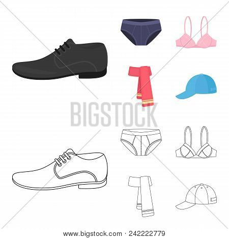 Male Shoes, Bra, Panties, Scarf, Leather. Clothing Set Collection Icons In Cartoon, Outline Style Ve