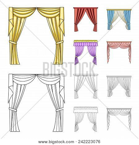 Different Types Of Window Curtains.curtains Set Collection Icons In Cartoon, Outline Style Vector Sy