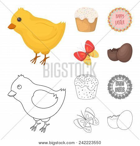 Easter Cake, Chicken, Butterfly And Greeting Sign.easter Set Collection Icons In Cartoon, Outline St