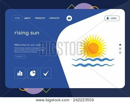 Quality One Page Rising Sun Website Template Vector Eps, Modern Web Design With Flat Ui Elements And