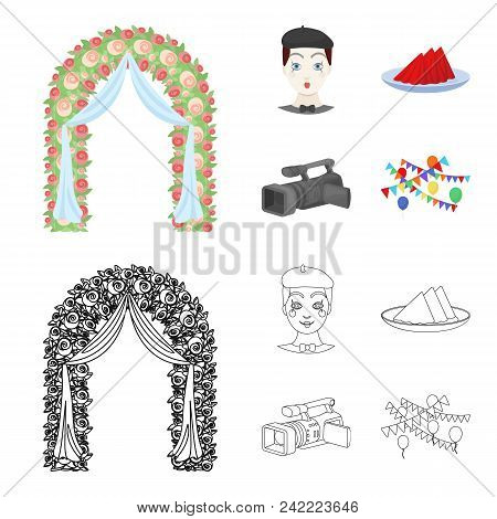 The Arch Is Decorated With Roses And Silk, A Clown In A Cap, A Plate With Red Napkins, A Video Camer