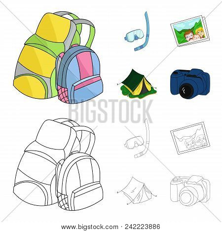 Travel, Vacation, Backpack, Luggage .family Holiday Set Collection Icons In Cartoon, Outline Style V