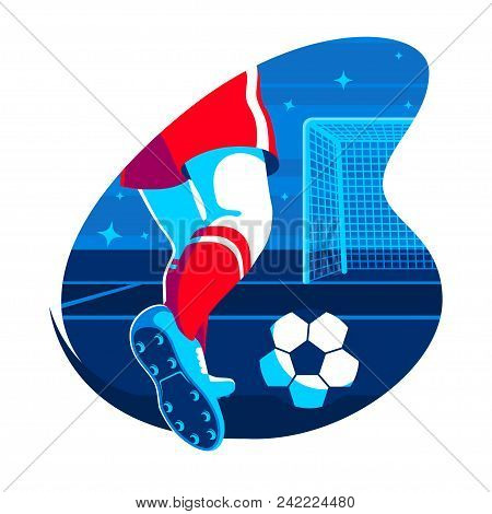 Legs Of Soccer Player With Ball Flat Illustration. Football Player Kicking The Ball. Vector Element