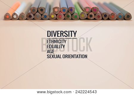 Diversity Concept. Row Of Mix Color Pencil On Black Background With Text Diversity, Ethnicity, Equal