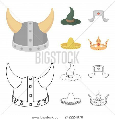Sombrero, Hat With Ear-flaps, Helmet Of The Viking.hats Set Collection Icons In Cartoon, Outline Sty