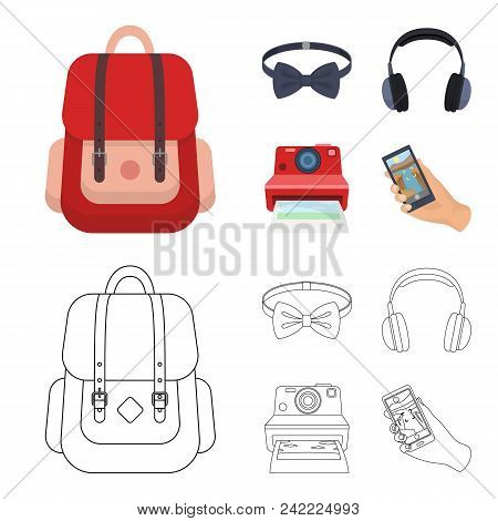 Hipster, Fashion, Style, Subculture .hipster Style Set Collection Icons In Cartoon, Outline Style Ve
