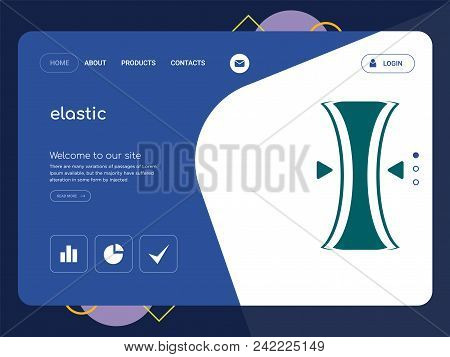 Quality One Page elastic Website Template Vector Eps, Modern Web Design with flat UI elements and landscape illustration, ideal for landing page poster