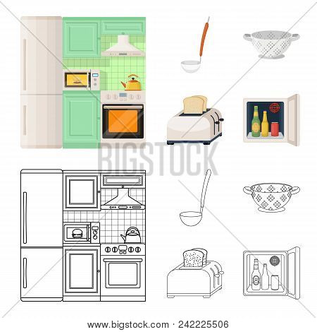 Kitchen Equipment Cartoon, Outline Icons In Set Collection For Design. Kitchen And Accessories Vecto