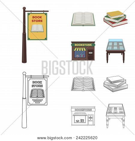 A Signboard, A Bookstore, A Stack Of Books, An Open Book. A Library And A Bookstore Set Collection I