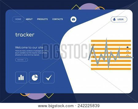 Quality One Page Tracker Website Template Vector Eps, Modern Web Design With Flat Ui Elements And La