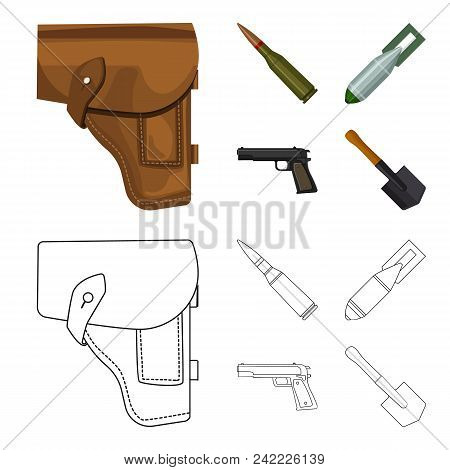 Holster, Cartridge, Air Bomb, Pistol. Military And Army Set Collection Icons In Cartoon, Outline Sty
