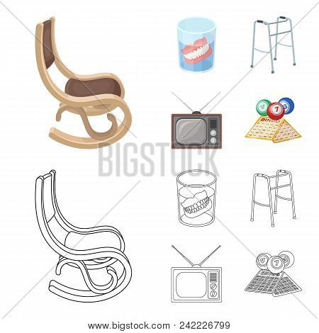 Denture, Rocking Chair, Walker, Old Tv.old Age Set Collection Icons In Cartoon, Outline Style Vector