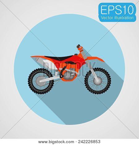 Motocross Bike Icon. Vector Eps10 Illustration In Flat Design
