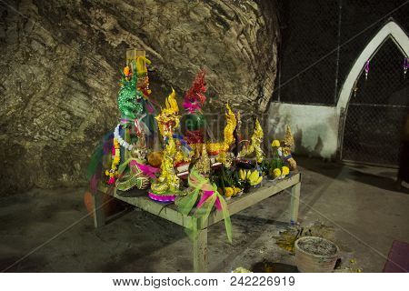 Many Naga Statues In Caves For Thai People Visit And Respect Or Praying At Wat Khao Orr In Phatthalu