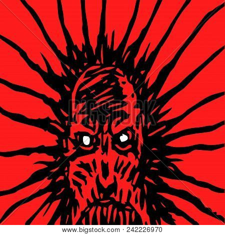 Evil Face Of A Bloodthirsty Monster. Angry Character In Horror Genre. Vector Illustration.