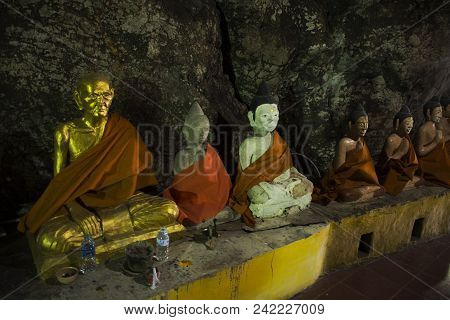 Many Buddha And God And Angel And Hermit Statue In Cave At Wat Khao In Phatthalung, Thailand.