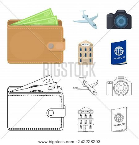 Vacation, Travel, Wallet, Money .rest And Travel Set Collection Icons In Cartoon, Outline Style Vect