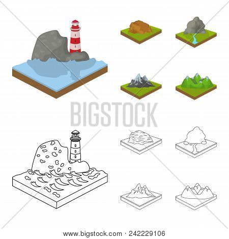 Mountains, Rocks And Landscape. Relief And Mountains Set Collection Icons In Cartoon, Outline Style