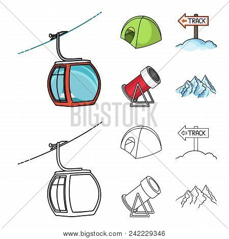 Funicular, Tent, Road Sign, Snow Cannon. Ski Resort Set Collection Icons In Cartoon, Outline Style V