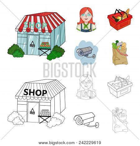 Salesman, Woman, Basket, Plastic .supermarket Set Collection Icons In Cartoon, Outline Style Vector