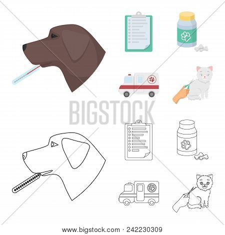 Hospital, Veterinarian, Dog, Thermometer .vet Clinic Set Collection Icons In Cartoon, Outline Style