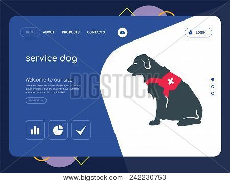 Quality One Page Service Dog Website Template Vector Eps, Modern Web Design With Flat Ui Elements An
