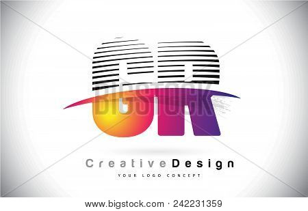 Gr G R Letter Logo Design With Creative Lines And Swosh In Purple Brush Color Vector Illustration.