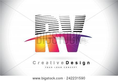 Rv R V Letter Logo Design With Creative Lines And Swosh In Purple Brush Color Vector Illustration.