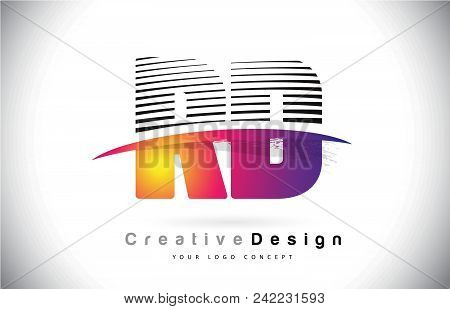 Rd R D Letter Logo Design With Creative Lines And Swosh In Purple Brush Color Vector Illustration.