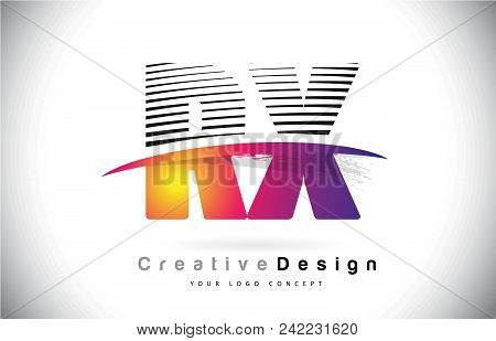 Rx R X Letter Logo Design With Creative Lines And Swosh In Purple Brush Color Vector Illustration.