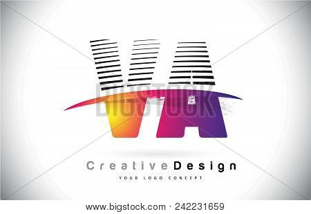 Va V A Letter Logo Design With Creative Lines And Swosh In Purple Brush Color Vector Illustration.