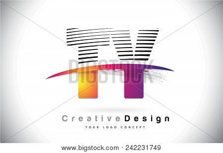 Ty T Y Letter Logo Design With Creative Lines And Swosh In Purple Brush Color Vector Illustration.