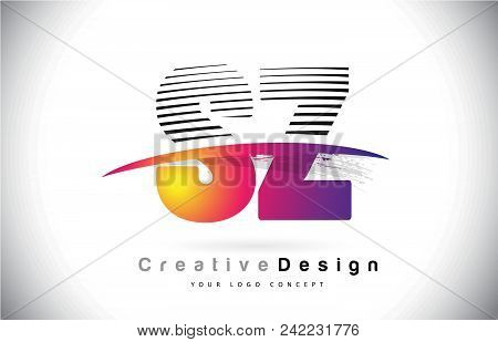 Sz S Z Letter Logo Design With Creative Lines And Swosh In Purple Brush Color Vector Illustration.