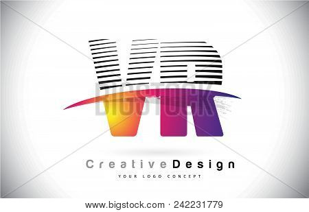 Vr V R Letter Logo Design With Creative Lines And Swosh In Purple Brush Color Vector Illustration.