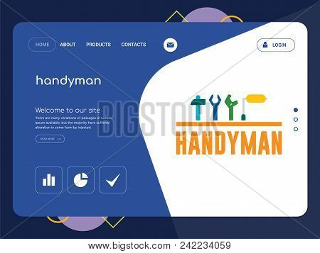 Quality One Page Handyman Website Template Vector Eps, Modern Web Design With Flat Ui Elements And L