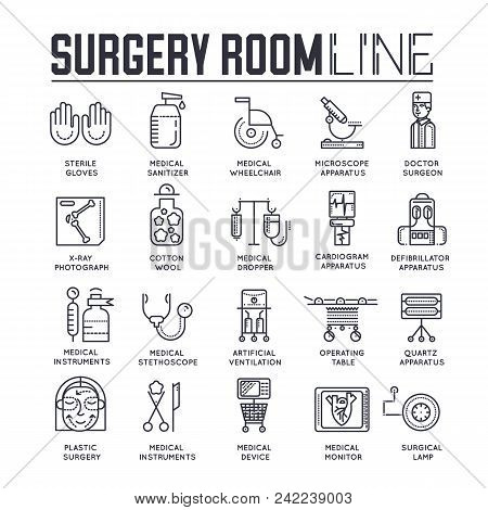 Doctors Making Surgery Vector Outline Concept. Medics In Surgery Room Providing And Operation To The