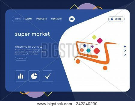 Quality One Page Super Market Website Template Vector Eps, Modern Web Design With Flat Ui Elements A