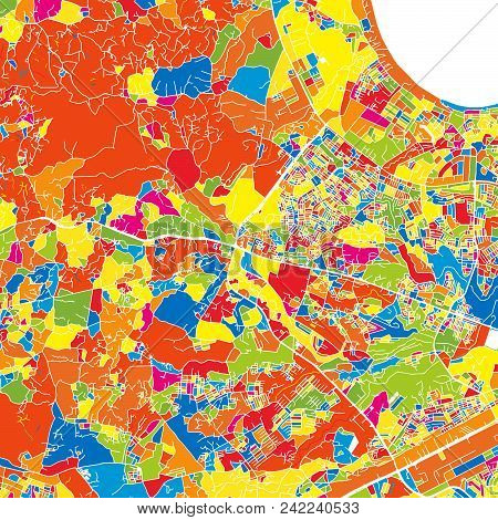 Dar Es Salaam, Tanzania, Colorful Vector Map.  White Streets, Railways And Water. Bright Colored Lan