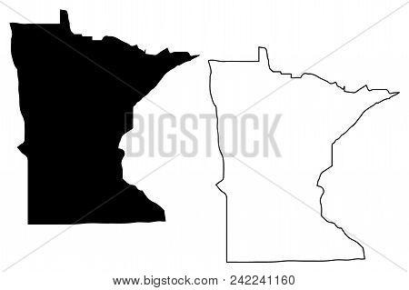 Minnesota Map Vector Illustration, Scribble Sketch Minnesota Map